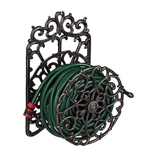 Relaxdays Schlauchhalter, antikes Design, drehbar, Wandhalter Gartenschlauch, Gusseisen, HBT: 52x33x31 cm, schwarz-Gold