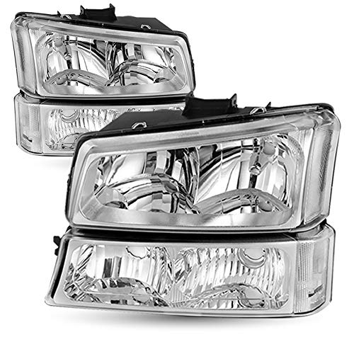 Driver and Passenger Side Headlight Assembly Compatible with 2003-2006 Chevy Avalanche/ 2003-2007 Chevrolet Silverado 1500 2500 3500 Chrome Black Housing Set of Running Lights (Chrome)