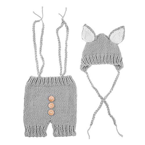 La Cabina Accessoires Photographie de Bébé Vêtement de Baptême Vêtement Bébé de Photographie Tricoter Chapeau+Pantalon Covers 2PCS pour 0-6 Mois Bébé (Gris)