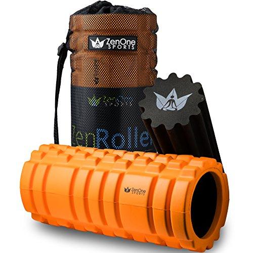 ZenOne Sports ZenRoller Faszienrolle, Massagerolle zum Lösen von Verklebungen & Muskelverhärtungen, Foam Roller zur Triggerpunkt-Massage, inkl. E-Book & Übungsposter (2in1 Orange)
