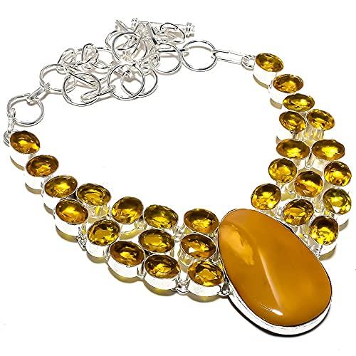 Qualitygems Mookaite, collar de plata de ley 925 hecho a mano con piedra citrina...