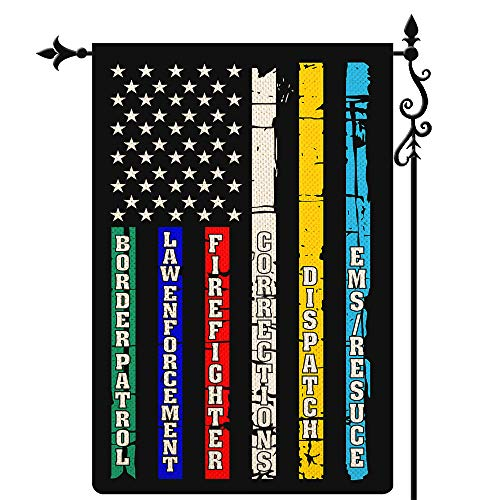 Coskaka Multi Line American US Garden Flag,Red Blue Green First Responders Paramedic Correctional Officer Military Police Fire Fighters Vertical Double Sided Burlap Yard Lawn Outdoor Decor 12.5x18Inch