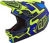 Troy Lee Designs Casco integral para adulto BMX | Downhill | D3 Fiberlite Speedcode Casco de ciclismo de montaña con MIPS (XXL, Amarillo/Azul)