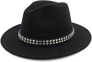 2019 Mens Womens Hats Womens Fashion Winter Fedora Hat for Women Lady Outdoor Travel Casual Dance Party Hat Casual Wild Church Hat Pop Panama Jazz Hat Wool Polyester (Color : Black, Size : 56-58)