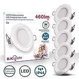 Faretti LED da incasso ultrapiatti, LED integrati 5W, diametro foro 75mm, faretti per bagn...