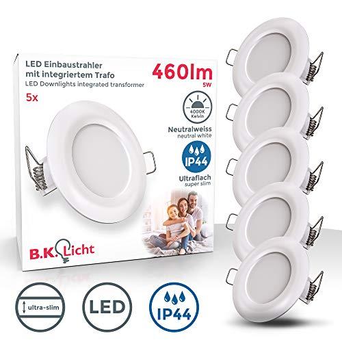 B.K.Licht I 5er Set LED Bad-Einbauleuchten I Ultra Flach 25mm I Ø85mm I Weiß I 5 x 5W LED Platinen I 460 Lumen I 4.000K Neutralweiß I IP44 I Bad- Einbaustrahler