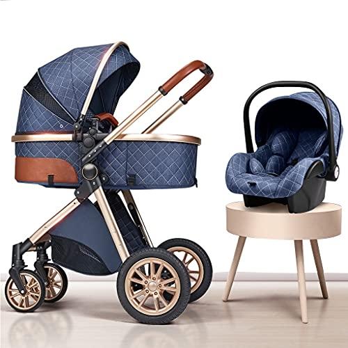 YXCKG Carrito Bebe 3 en 1 kinderkraft Silla de Paseo Cochecito de Paseo de Lujo Plegable Cochecito de bebé High View con Bolsa para mamá y mosquitera para la Lluvia (Color : Blue)