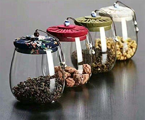 Imaxonor Vorratsglas mit Bambusdeckel, Küchenbehälter für Tee, Kaffee, Süßigkeiten, Kerzen, Kekse und Zucker, 800 ml (4 Stück)