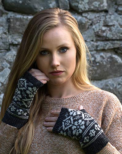 graue fäustlinge wolle fingerlose handschuhe fair isle handwärmer handgestrickte handwärmer gestrickte norwegische fäustlinge wolle skandinavische fäustlinge