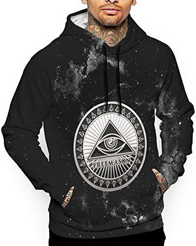 angwenkuanku Herren Hoodies Freemason Masonic Silbermünze 3D Full Print mit Taschen Pullover Sweatshirts