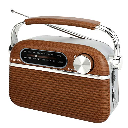 SEMIER Retro AM FM Portable Radio Bluetooth Speak,Battery Operated Radio by 2X D Cell Batteries Or AC Power Vintage Transistor Radio with Big Speaker and Large Knob