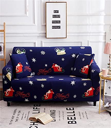ROMDEANK Sofabezug für 1-, 2-, 3-, 4-Sitzer-Sofa, hoher Stretch-Stoff, Polyester/Spandex, Möbelschutz mit 2 Kissenbezügen (blauer Weihnachtsmann, 4-Sitzer 235 cm – 300 cm)