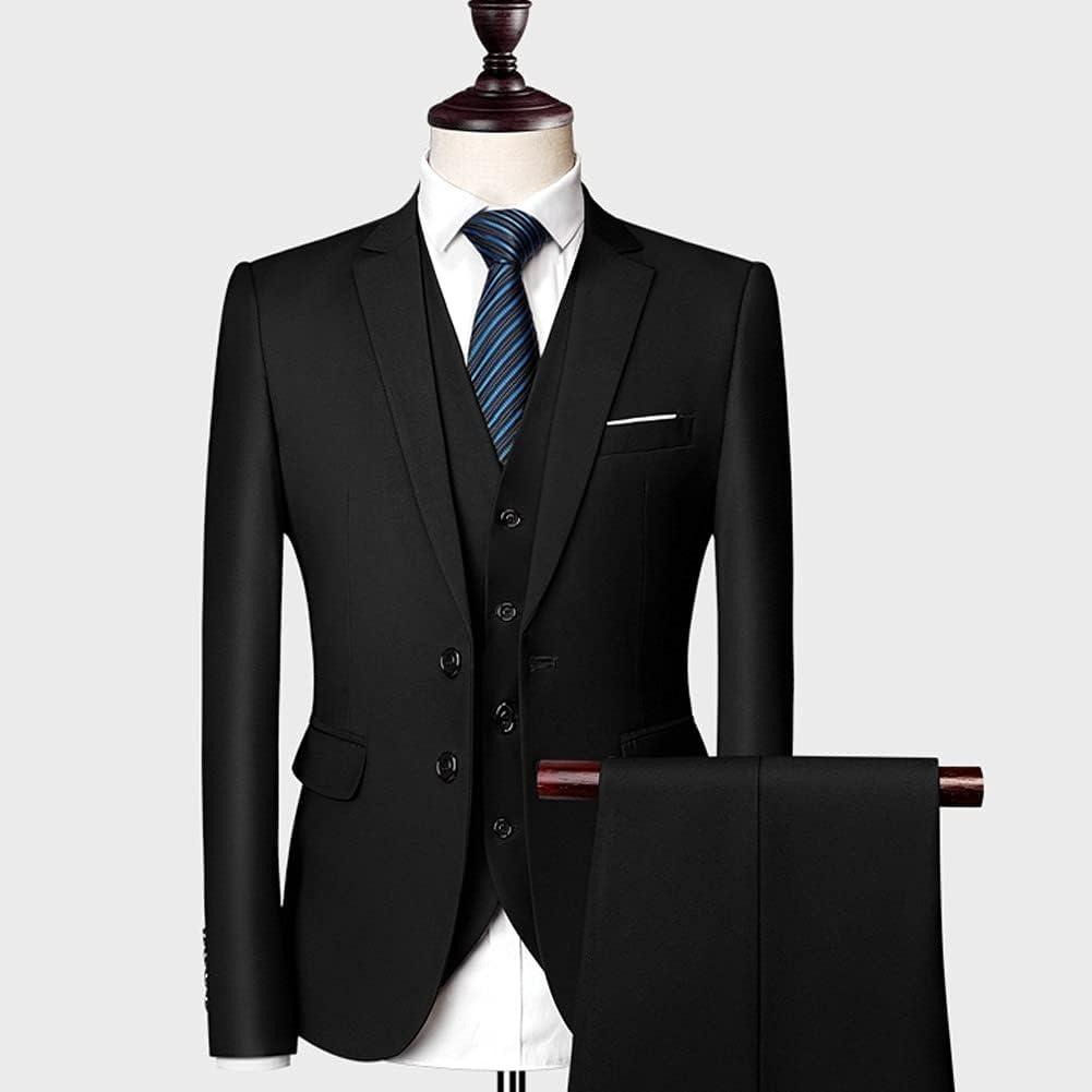 UXZDX CUJUX Classic Men Suits Slim Wedding Groom Wear Male Business Casual 3 Piece Suit Trousers (Blazer+Pants+Vest) (Color : Black, Size : Asia XXL 62 to 67kg)