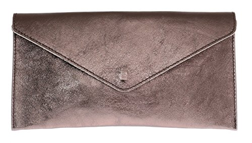 Girly Handbags Echtes Leder Italienisch Metallic-Clutch - Dark BronzeDark Bronze