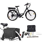 Momo Design Venezia, Bicicletta elettrica a pedalata assistita Unisex Adulto, Nero, Unica + Borse da...