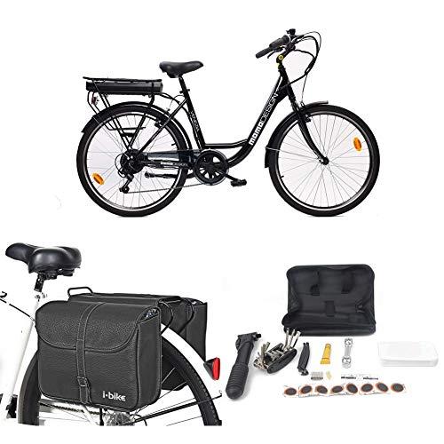 Momo Design Venezia, Bicicletta elettrica a pedalata assistita Unisex Adulto, Nero, Unica + Borse da Trasporto + Kit Riparazione + Supporto Universale per Smartphone