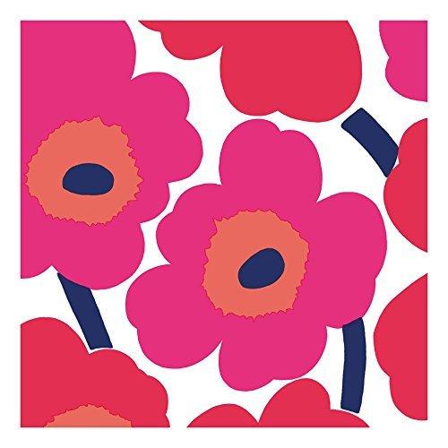IHR Marimekko Marimekko Marimekko - Tovaglioli da tavola in carta con motivo floreale, colore: rosso, 50,8 cm