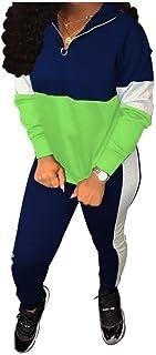 Howely Womens 1/4 Zip Hood 2 Piece Colorblock Stylish Sportswear Set Activewear