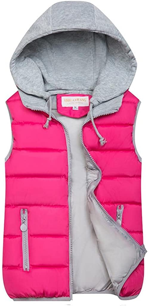 Yowein Women's Quilted Padding Hooded Puffer Vest Winter Coat with Removable Hood Lightweight Padded Gilet Quilted Vest