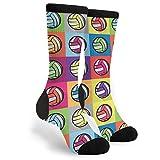 Colorful Volleyball Ball Printed Socks Men's Women's Novelty Crew Socks Funny Crazy Socks Gift
