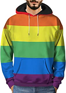 Mens 3D Printed Rainbow Striped Pullover,Fashion Pocket Long Sleeve Hooded Sweatshirt Tops 2018