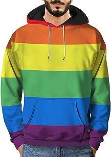 Mens 3D Printed Rainbow Striped Pullover,Fashion Pocket Long Sleeve Hooded Sweatshirt Tops 2018