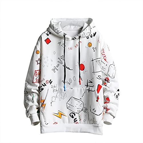 Sudadera con capucha para hombre con estampado de grafiti, moderna, informal y de estilo hip hop, diseño divertido - blanco - Large