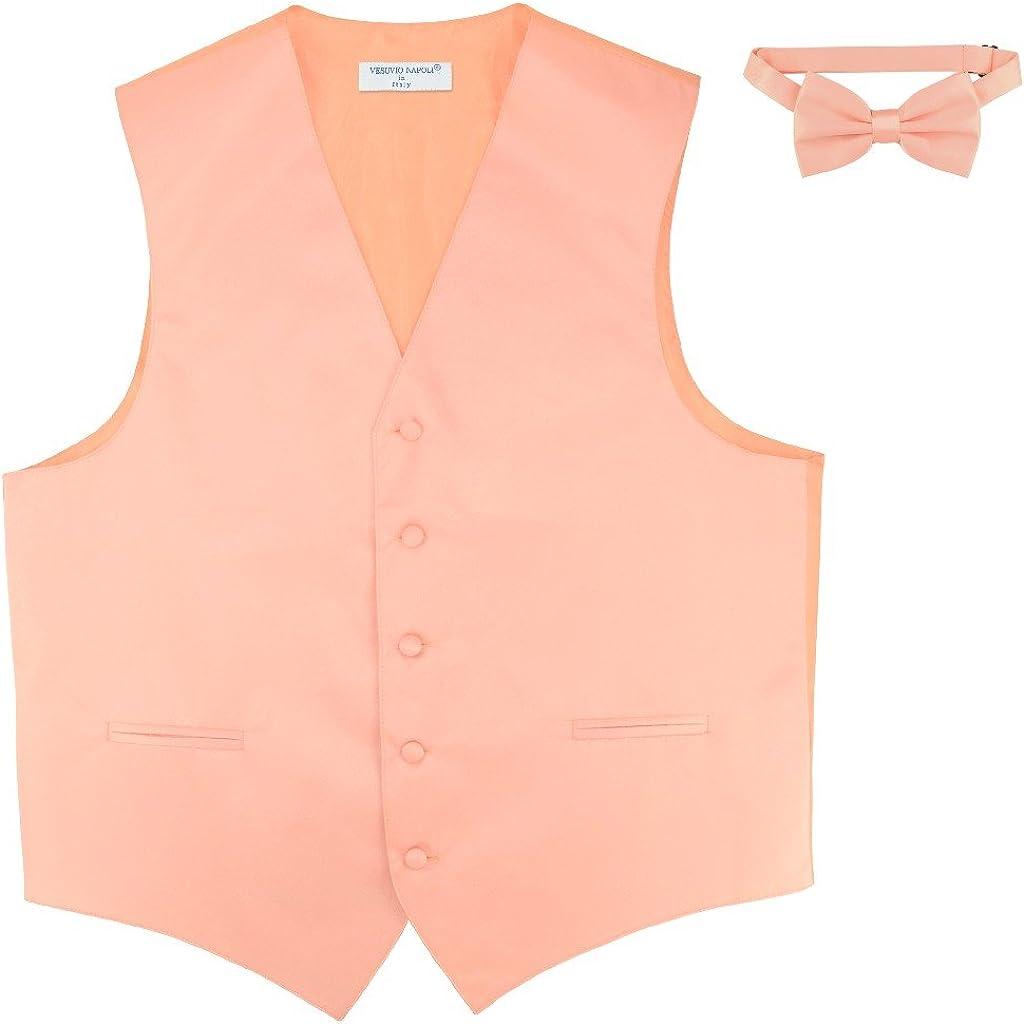 Men's Dress 4 years warranty Vest BowTie Solid PEACH Max 79% OFF Bow for Color Suit Set Tie