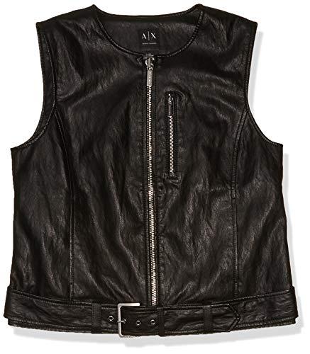 Armani Exchange Damen Weste mit Reißverschluss und Gürtel, aus Öko-Leder - Schwarz - 40