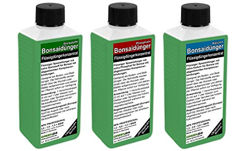 Bonsai Dünger SET mit 3 Profi Flüssigdüngern für alle Wachstumsphasen N+P+K Volldünger