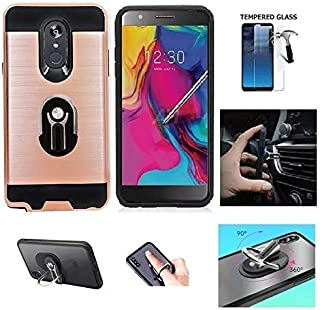 Compatible Case for LG Stylo 5 / LG Stylo 5 Plus/LG Stylo 5V, Multi-Functional Shockproof Texture Brushed Cover Case with Ring/Kickstand/Built in Car Mount (Rose Gold)