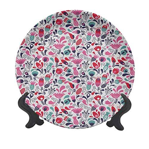 Tulip - Plato decorativo de cerámica de 25,4 cm, fondo floral con tulipán y ramas enlazados, decoración artística, plato de cerámica para mesa de Navidad