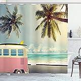 ABAKUHAUS Duschvorhang, Transporter VW T1 Bus Cooles Hippie Wagen Foto Hipster Palmen Strand im Hintergr& Foto Druck, Blickdicht aus Stoff mit 12 Ringen Waschbar Langhaltig Hochwertig, 175 X 200 cm
