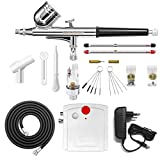 Gocheer Compresseur Aerographe Complet Kit Inclus Double Action Pistolet...