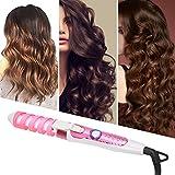 Hair Waver, varita rizadora eléctrica para el cabello, rizador de cabello en espiral, rizador de cabello rizador herramienta de peinado rizador para el hogar 110-240 V profesional portátil(EU)