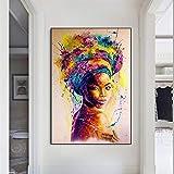 ganlanshu Cuadro En Lienzo Cartel de la Mujer Africana e imágenes Decorativas para la decoración del hogar de la Sala de estar70x100cmPintura sin Marco