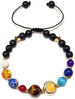 Menglina Women Stone Bead Charm Bracelet Universe Galaxy The Eight Planets Nine Planets in The Solar System Guardian Star ...
