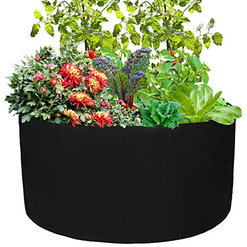 æ—  100Gallon Fabric Raised Garden Bed, Round Breathable Planting Container Grow Bag Planter Pot for Vegetables, Plants, Flowers (96.5cm, Black)