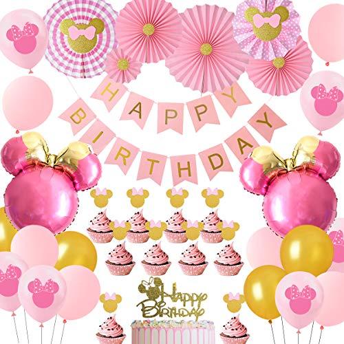 JOYMEMO Decoraciones de Fiesta temáticas de Minnie Rosa y Dorado, Globos de Cabeza de Minnie Mouse Fans de Papel Adornos de Pastel, niñas 1er 2do 3er cumpleaños Suministros para Fiestas