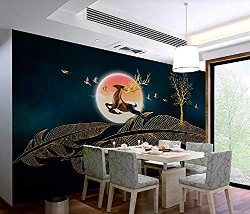 Goldgeprägter Federelch mit extravaganten Linien Modernes Tapeten für Wohnzimmer Schlafzimmer TV Wanddekoration Tapete wandpapier fototapete 3d effekt tapeten Wohnzimmer Schlafzimmer-430cm×300cm