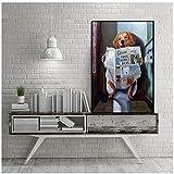 Niedliche Plakate und DruckeWandkunstdrucke Lustige Hundetoilette Lesepapier Nordic Canvas Art Badezimmer Dekor 70x90 cm / 27,6'x 35,4'Kein Rahmen-4