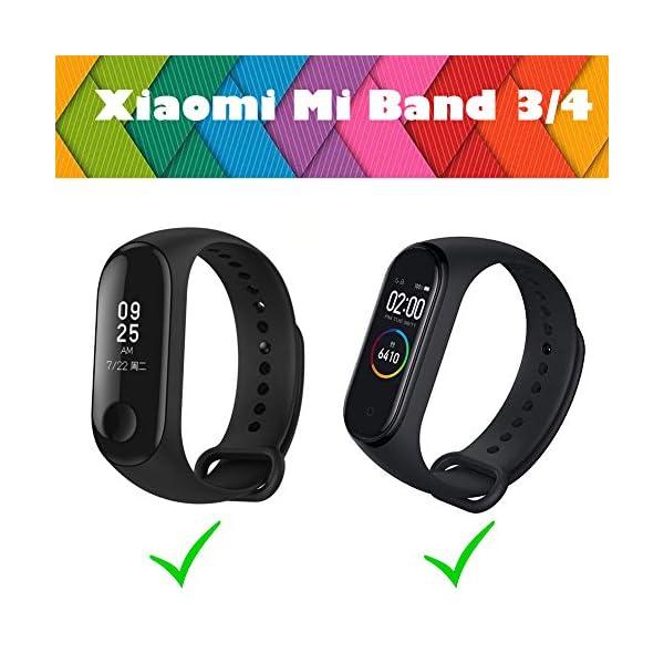 BRone Pulsera para Xiaomi Mi Band 3 / Mi Band 4, Coloridos Impermeable Reemplazo Correas Reloj Silicona Correa para… 4