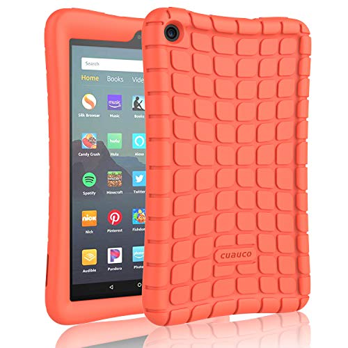 Cuauco Silicone Case for All-New Amazon Fire 7 Tablet(9th Generation,2019 Release)-[Kids Friendly] Light Weight [Anti Slip] Shock Proof Protective Cover for All-New Fire 7 (7' Display)- Coral Orange