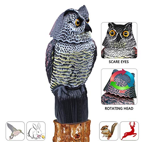 AndBird Horned Owl with Rotating Head, Vertical Great Owl Garden Decor, Natural Enemy Rotating Scarecrow.