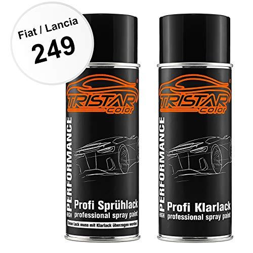 TRISTARcolor Autolack Spraydosen Set für FIAT/Lancia 249 Bianco Banchisa/Bianco Santerellina Basislack Klarlack Sprühdose 400ml