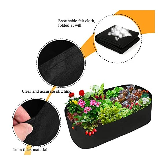 pannow Fabric Raised Planting Bed, Garden Grow Bags Herb Flower Vegetable Plants Bed Rectangle Planter for Plants… 2 ★Space-saving Gardening - Just enjoy the fun of growing your own organic vegetables and fruits; Our planting container is perfect for plants, flowers and fresh herbs, vegetables, fruits etc. ★Premium Material - Made of a proprietary fabric material, a highly durable, UV resistant, non-woven fabric that provides exceptional air flow throughout the soil and root systems and allows excess moisture to easily drain away ★Considerate Design - Plants will grow above the natural ground level with our fabric raised garden bed, which makes tending your garden much easier as you can weed, prune, water and harvest your crop with less stooping and bending; Ideal for anyone with back or joint problems