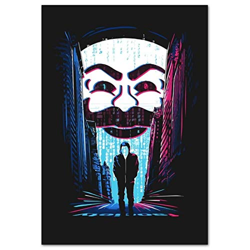 wzgsffs Mr Robot Season 2 USA TV Series Show Mask Poster and Prints Arte De La Pared Impresión En Lienzo para Sala De Estar Dormitorio En Casa-20X28 Pulgadas X 1 Sin Marco