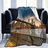 YOLIKA Manta de Tiro Ligero Ultra Suave,Manhattan, Ciudad de Nueva York. Espectacular Vista de la Ciudad al Atardecer,Sala de Estar/Dormitorio/Sofá Cama Edredón de Franela 4 Estaciones,50' x 60'