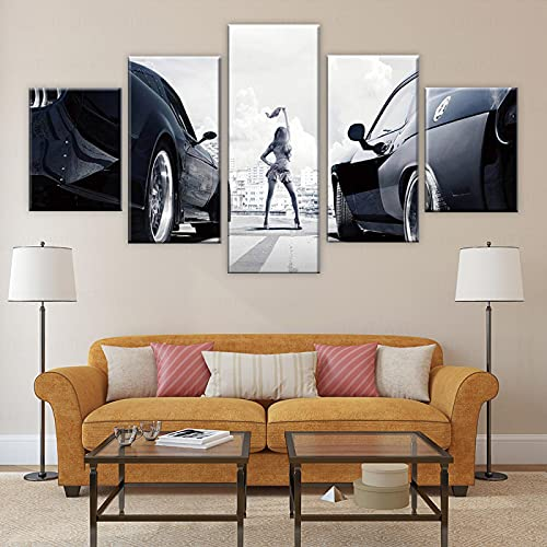 Rtewioucnmxcor Cartel de carreras rápido y furioso en lienzo, 5 piezas, decoración del hogar