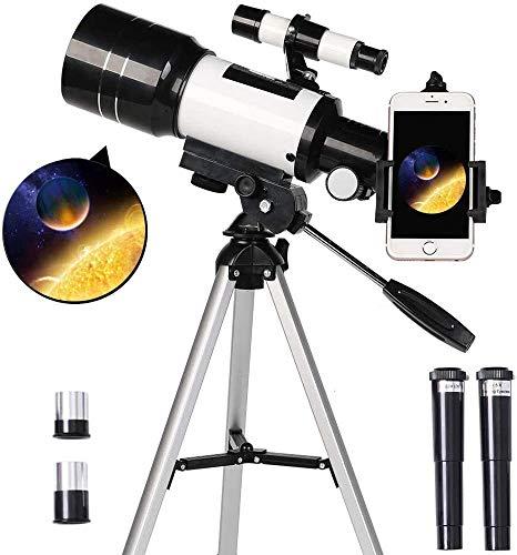 Telescopio para niños principiantes, 70 mm de apertura, 300 mm, telescopio astronómico refractor, trípode y buscador, telescopio de viaje portátil con adaptador para teléfono inteligente y control